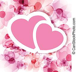 roze, floral, twee, kaart, hartjes