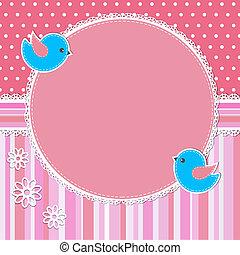 roze, frame, bloemen, vogels
