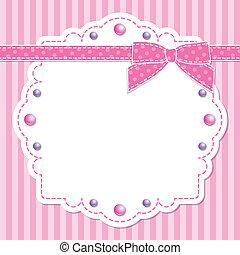 roze, frame, met, boog