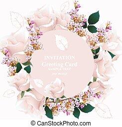 roze, frame., roos, krans, lavendel, kleuren, delicaat, vector., bloemen, ronde, kaart, sleutelbloem