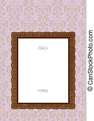 roze, frame, vector, achtergrond, sierlijk