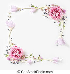 roze, frame, vrijstaand, rozen, fris, grens