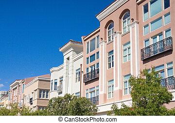 roze, gebouwen, rails, black , ijzer, stucco