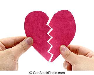 roze, gebroken hart, hand