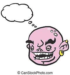 roze, gedachte bel, spotprent, gezicht
