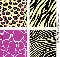 roze, &, gele, dier, leopar, tiger, zebra, en, giraffe, model, /