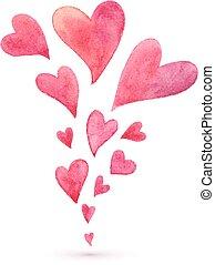 roze, geverfde, lente, vliegen, watercolor, hartjes
