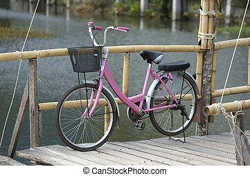 roze, girl's, fiets