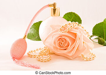 roze, glas, scent-bottle, roos