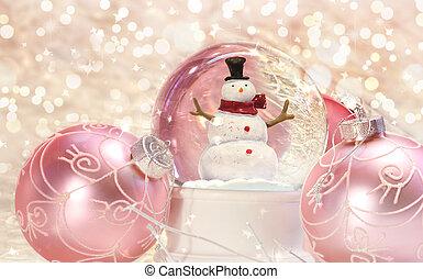 roze, globe, sneeuw, versieringen
