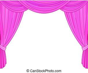 roze gordijnen