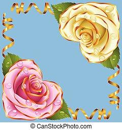 roze, gouden, roos, vector, vignette., hoek, witte , linten