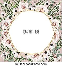 roze, gouden, tuin, eucalyptus, frame, roos, bladeren, uitnodiging, floral, groene, trouwfeest, afdrukken, palm, geometrisch, kaart, design.