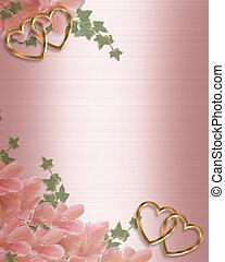 roze, grens, trouwfeest, satijn, uitnodiging