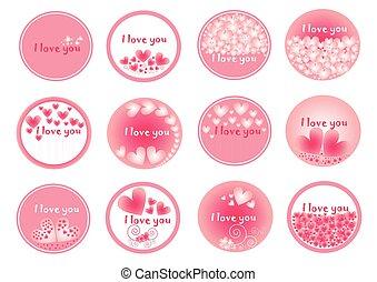 roze, groep, valentines, hart, ontwerp, verzameling, hartjes, cirkel, set, dag, pictogram