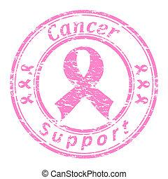 roze, grunge, postzegel, tekst, steun, vrijstaand, rubber,...