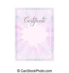 roze, guilloche, frame, officieel, certificaat