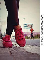 roze, gymschoen, -, accessoires, en, wearable, (sneakers).