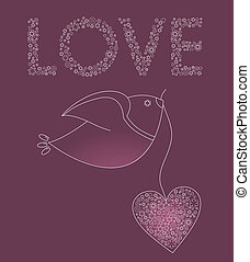 roze, hart, abstract, vogel