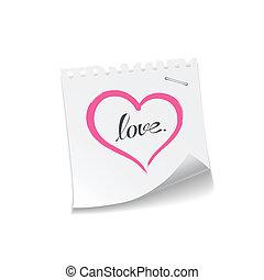 roze, hart, liefde opmerking, papier, boodschap