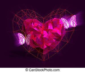 roze, hart, stijl, licht, poly, laag, butterflies.
