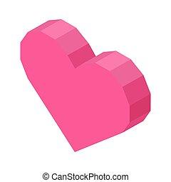 roze, hart, vrijstaand, illustratie, helder, computer, hoekig, pictogram