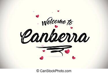 roze, hart, woord, canberra, tekst, welkom, met de hand...