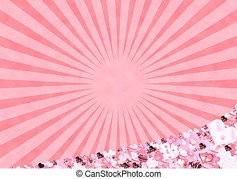 roze, hartjes, en, zonnestralen, achtergrond