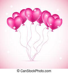 roze, hartjes, gemaakt, ballons, achtergrond