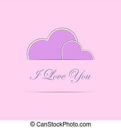 roze, hartjes, twee, kaart, valentijn