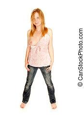 roze, het openbaren, vrouw, hemd, jeans, jonge, een, borst