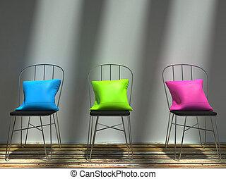roze, het rusten, blauwe , kussens, stoelen, groene, modieus
