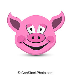 roze, hoofd, vrijstaand, varken, achtergrond, witte