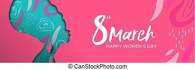 roze, hoofd, vrouw, afrikaan, womens, spandoek, dag, vrolijke