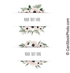 roze, horisontal, natuurlijke , succulents, eucalyptus, banner., lente, flora, roos, bloemen, vector, ontwerp, greenery., of, kaart, frame.