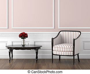 roze, interieur, witte , classieke