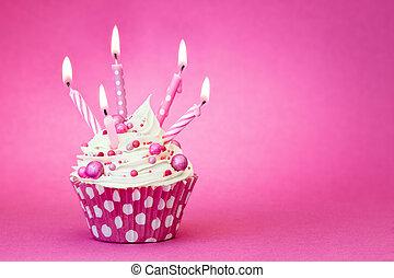 roze, jarig, cupcake