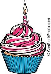 roze, kaarsje, jarig, burning, cupcake