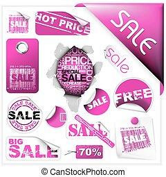 roze, kaartjes, etiketten, set, verkoop