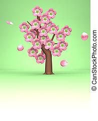 roze, kers ontwikkelt, groene