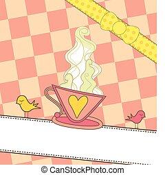 roze, koffie, spandoek, kop