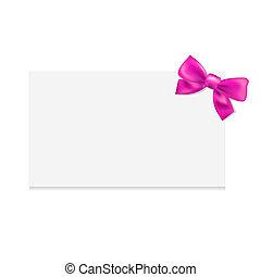 roze, label, leeg, geschenk buiging