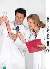 roze, laboratorium technici, vloeistof, het onderzoeken