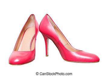 roze, leder, vrouwlijk, schoentjes, vrijstaand, op wit