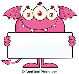 roze, leeg, monster, vasthouden, meldingsbord