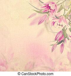 roze, lelies, achtergrond