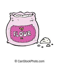 roze, meel, komisch, spotprent, zak