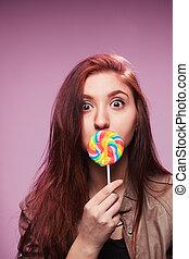 roze, meisje, jonge, lollipop