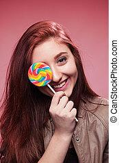 roze, meisje, vrolijke , jonge, lollipop