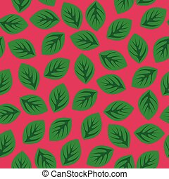 roze, model, bladeren, groene, seamless